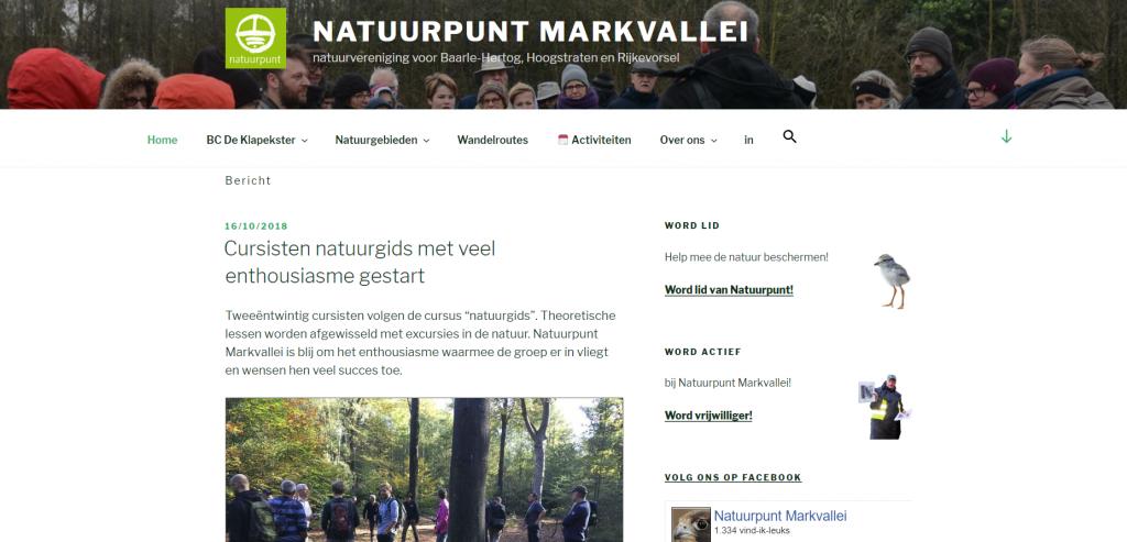 Een nieuwe website voor Natuurpunt Markvallei